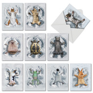 Critter Snow Angels, Assorted Set Of Mini Thank You Greeting Cards - AM4187TYG