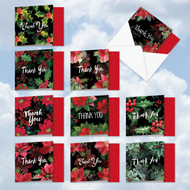 MQ4984XT - Multidimensional Christmas Hollies: Square-Top Mixed Set of 10 Cards