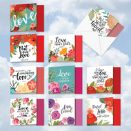 MQ5654VD - Perfect Love Quotes: Square-Top Assorted Set of 10 Cards