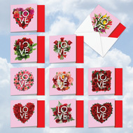 MQ5662VD - Blooming Love: Square-Top Mixed Set of 10 Cards