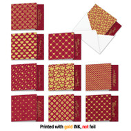MQ5666VD - Red And Gold All Over: Square-Top Assorted Set of 10 Cards