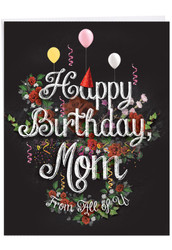 Chalk And Roses, Jumbo Birthday Mother Note Card - J6479BBMG-US