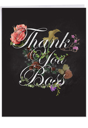 Chalk And Roses, Extra Large Boss Thank You Greeting Card - J2358ABYG