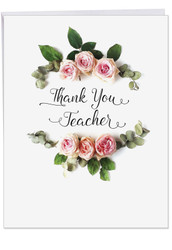 Elegant Flowers, Jumbo Teacher Thank You Greeting Card - J4175ATTG