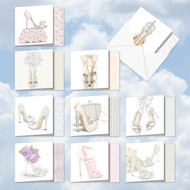 AMQ5052WI - Bride-itude Invitation: Mini Square-Top Assorted Set of 10 Cards