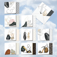 Sole Mates, Assorted Set Of Mini Square-Top Wedding Thank You Greeting Cards - AMQ5068WYG
