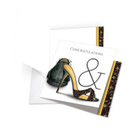 Sole Mates - Perfect Pair, Jumbo Square-Top Wedding Congratulations Note Card - JQ5068CWDG