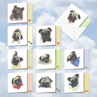Snuggle Pugs, Assorted Set Of Mini Square-Top Blank Note Cards - AMQ5648OCB