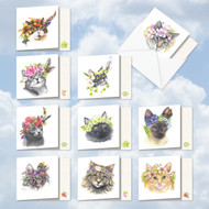 Fabulous Felines, Assorted Set Of Mini Square-Top Blank Greeting Cards - AMQ5649OCB
