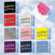 AMQ5651BD - Inflated Messages - Birthday: Mini Square-Top Mixed Set of 10 Cards