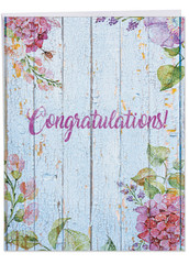 J6108JCG - Blooming Driftwood - Congratulations From Us: Jumbo Note Card