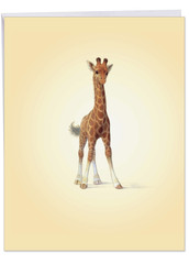 J6726FCG - Zoo Babies-Giraffe: Big Greeting Card