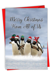 C2951DXS-US - Penguins and Greetings Christmas From Us: Printed Card