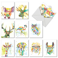 Rainbow Splash Animals, Assorted Set Of Mini Thank You Greeting Cards - AM6137TYG
