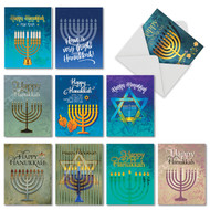 Hanukkah Lights, Assorted Set Of Mini Hanukkah Thank You Note Cards - AM6140HYG