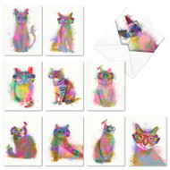 Funky Rainbow Cats, Assorted Set Of Mini Blank Note Cards - AM6199OCB