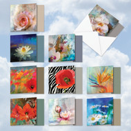 Wall Flowers, Assorted Set Of Mini Square-Top Blank Greeting Cards - AMQ6129OCB