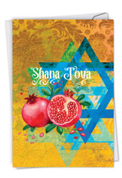 C6135ARH - Shana Tova Greetings-Star and Pomegranates: Printed Card