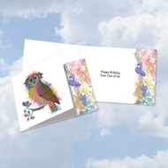 CQ4948BBD-US - Funky Rainbow Wildlife-Owl From Us: Square-Top Note Card