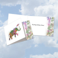 CQ4948JBD - Funky Rainbow Wildlife-Elephant: Square-Top Printed Card