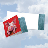 Animal Magnetism - Pig, Printed Square-Top Blank Note Card - CQ6218COCB