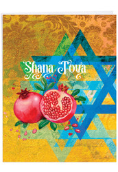 Shana Tova Greetings - Star And Pomegranates, Extra Large Rosh Hashanah Note Card - J6135ARHG