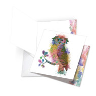 Funky Rainbow Wildlife - Owl, Extra Large Square-Top Birthday Greeting Card - JQ4948BBDG-US