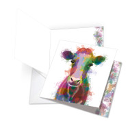 Funky Rainbow Wildlife - Cow, Extra Large Square-Top Thank You Note Card - JQ4948ETYG