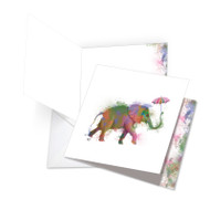 Funky Rainbow Wildlife - Elephant, Jumbo Square-Top Birthday Greeting Card - JQ4948JBDG