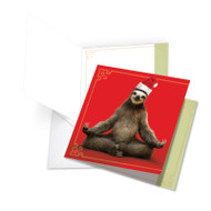 JQ6255AXS - Santa Sloth Yoga: Large Square-Top Printed Card