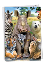 Here's Looking At Zoo, Printed Get Well Note Card - C6639AGWG-US