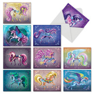 Unique Unicorns, Assorted Set Of Mini Blank Note Cards - AM6294OCB