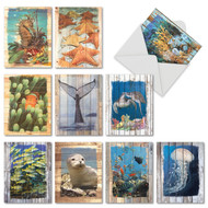 AM6331OC - Ocean Driftwood Transfers: Mini Mixed Set of 10 Cards