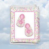 M6443BB - Pink Baby Booties: Mini Greeting Card