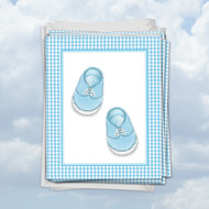M6444TY - Blue Baby Booties: Mini Note Card