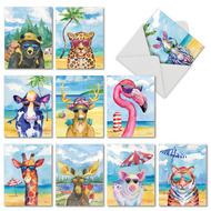 Animal's Day Off, Assorted Set Of Mini Thank You Greeting Cards - AM6670TYG