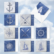AMQ6671TY - Nautical World: Mini Square-Top Assorted Set of 10 Cards