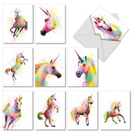 Funky Rainbow Unicorns, Assorted Set Of Mini Thank You Greeting Cards - AM6748TYG