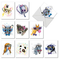 AM6749TY - Funky Colorful Creatures: Mini Mixed Set of 10 Cards