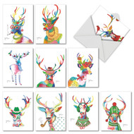 Fancy Reindeer, Assorted Set Of Mini Christmas Greeting Cards - AM6751XSG