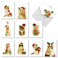 AM6753XS - Funky Rainbow Holiday Cats: Mini Assorted Set of 10 Cards