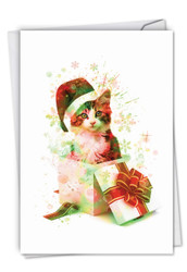 C6753AXS - Funky Rainbow Holiday Cats: Note Card