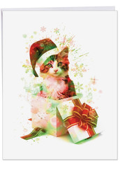 J6753AXS - Funky Rainbow Holiday Cats: Extra Large Paper Card