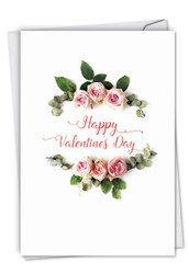 Elegant Flowers, Printed Valentine's Day Note Card - C4175AVDG