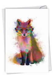 C4948ABD - Funky Rainbow Wildlife - Fox: Paper Card
