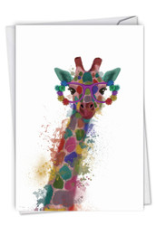 Funky Rainbow Wildlife - Giraffe, Printed Congratulations Note Card - C4948HCGG