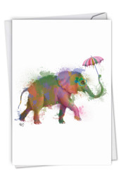 C4948JBD - Funky Rainbow Wildlife - Elephant: Greeting Card