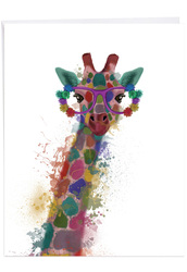 J4948HCG - Funky Rainbow Wildlife - Giraffe: Over-sized Paper Card