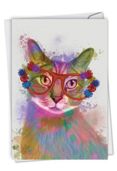 C6199IBD - Funky Rainbow Cats - Cool Cat: Paper Card
