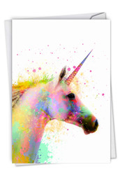 C6748DBD - Funky Rainbow Unicorns - Believe: Note Card